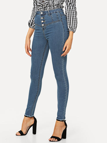 Single Breasted High Waist Jeans