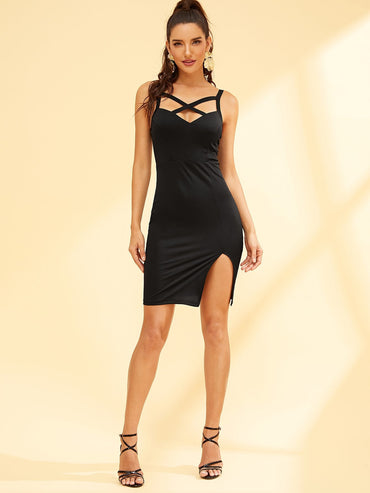 Crisscross Neck Split Hem Dress
