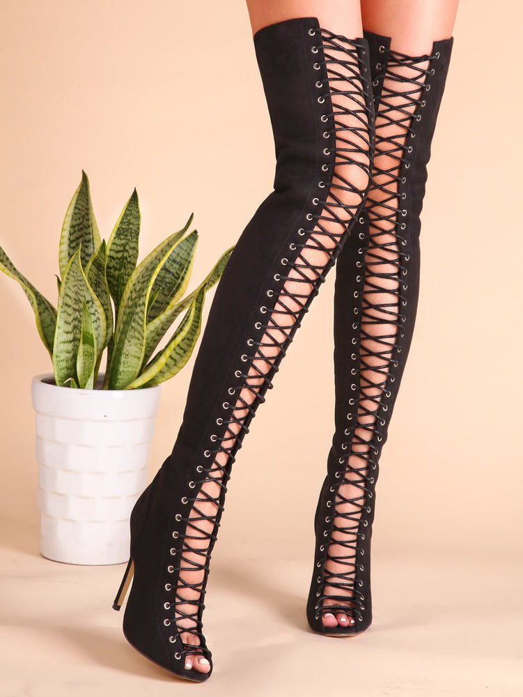 Black Sexy Criss Cross Lace Up Suede Thigh High Boots