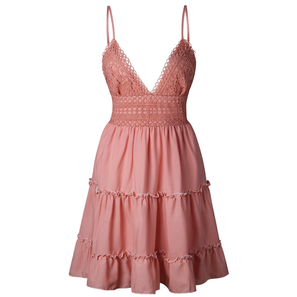 V Neck  Lace Sleeveless  Spaghetti Strap Dress