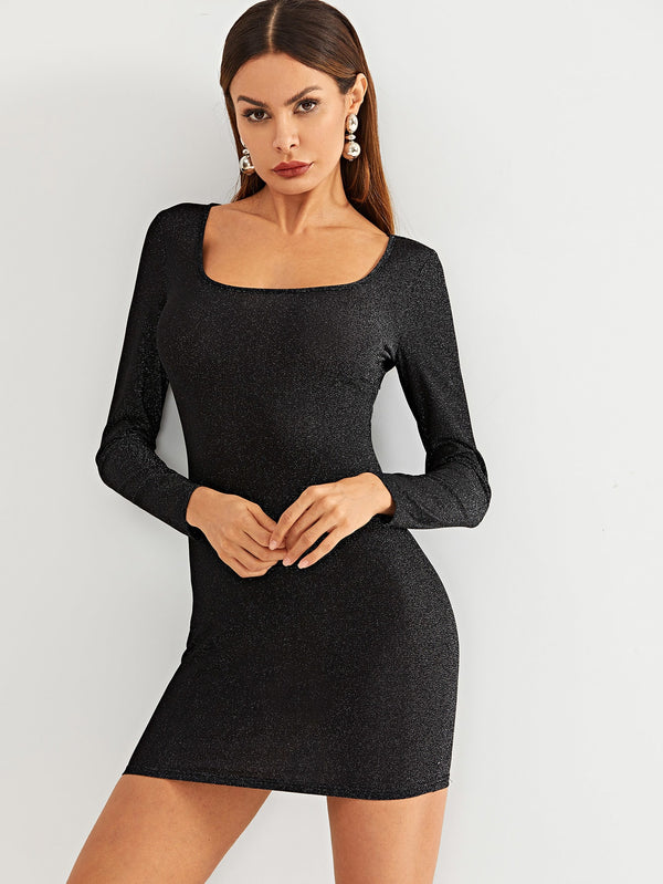 Square Neck Metallic Bodycon Dress