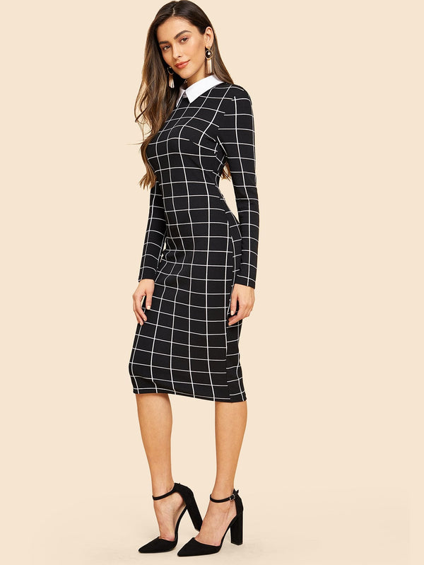 Contrast Collar 30s Grid Pencil Dress