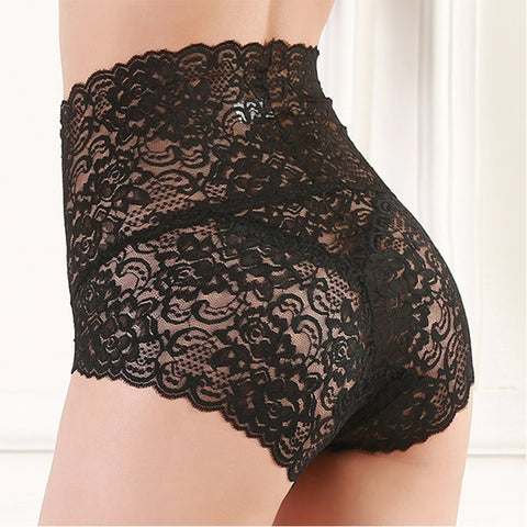 High Waisted Lace Perspective Cotton Crotch Panties