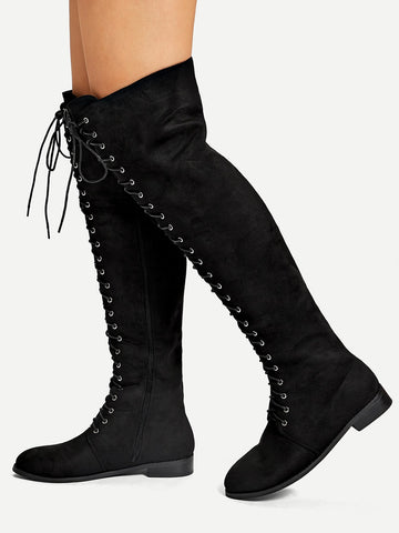 Grommet Lace-up Thigh High Boots