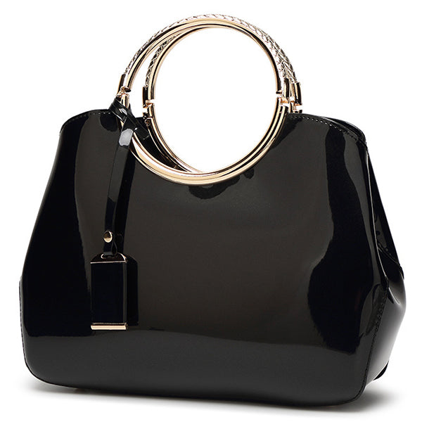 Women High Quality Patent Leather Elegant Handbag