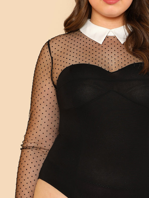 Plus Contrast Collar Mesh Insert Sweetheart Bodysuit