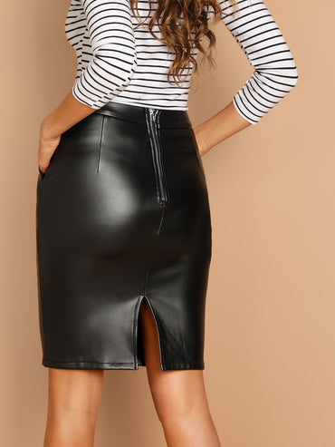 Zip Back Split Skirt