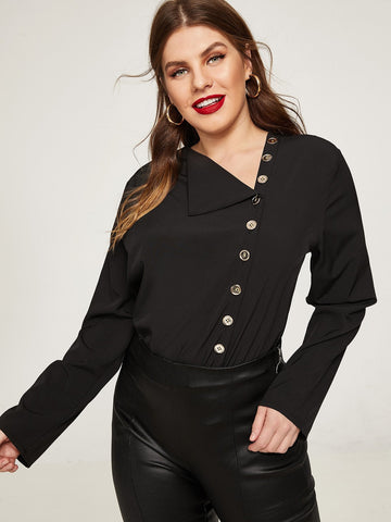 Plus Single Breasted Solid Blouse