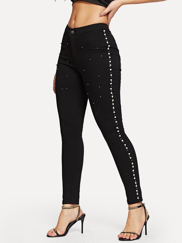 Beaded Solid Jeans