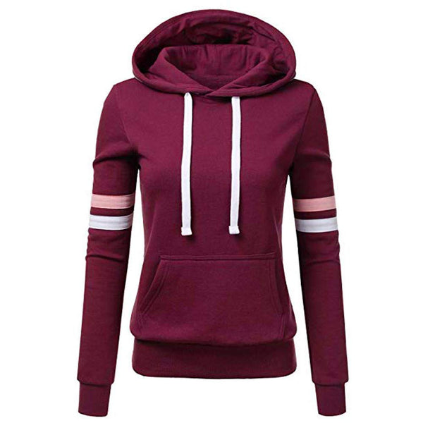 Hoodies Sweatshirt Patchwork Ladies Hooded Blouse Pullover.