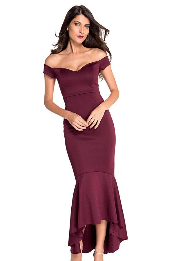 Evening Dress Off Shoulder Flouncing Mermaid Formal Prom Gowns