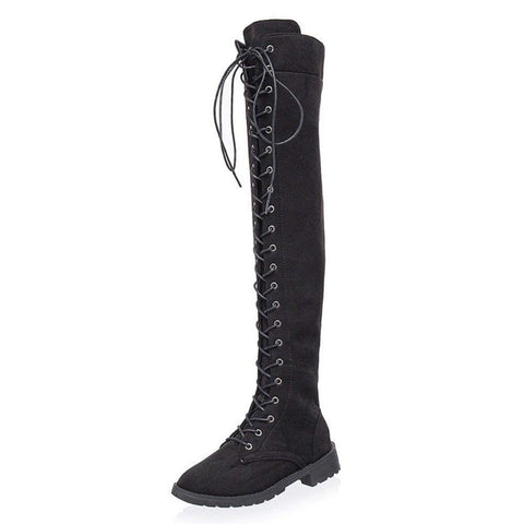Tied Platform Shoes Over Knee Boots Flat Heel Boots Long Snowshoes