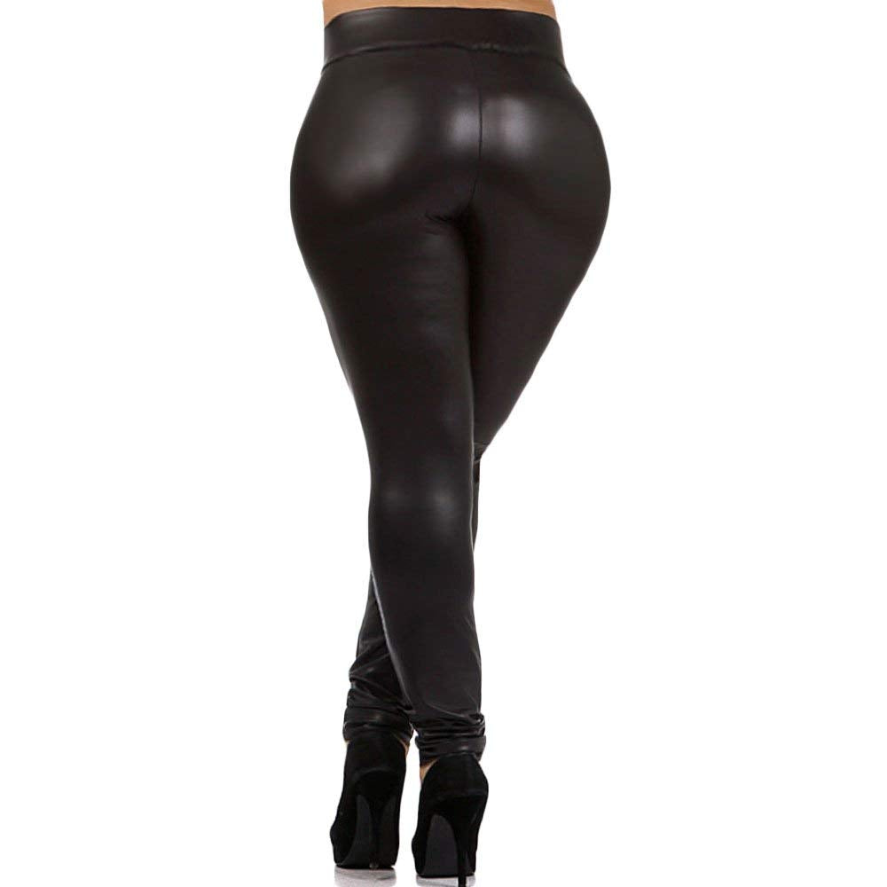 cfd273814a693 Plus Size Faux Leather Leggings Lightweight High Waisted. | Violet Wear
