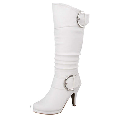 Knee High Round Toe Buckle Slouched Low Heel Boots