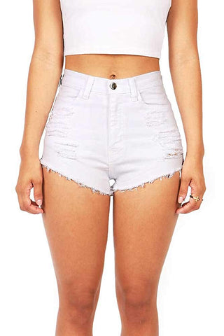 Vibrant Women's Juniors Denim High Waist Cutoff Shorts