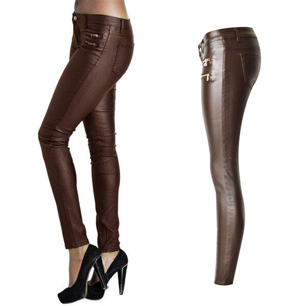 PU Leather Denim Pants for Women Sexy Tight Stretchy Rider Leggings Black Coffee