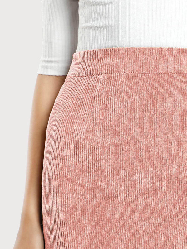 Zip Back Corduroy Bodycon Skirt