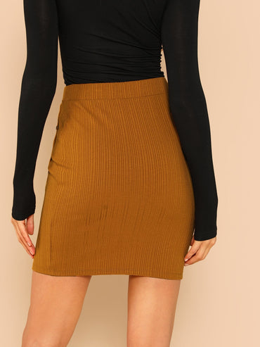 Button Up Jersey Skirt