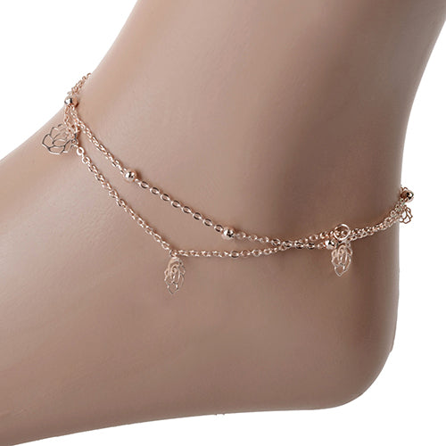 Sexy Rose Double Layer Copper Beach Sandal Ankle Chain Anklet Foot Bracelet.