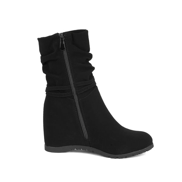 DREAM PAIRS Women's Coline Casual Low Wedge Boots Side Zipper Ankle Booties Shoes