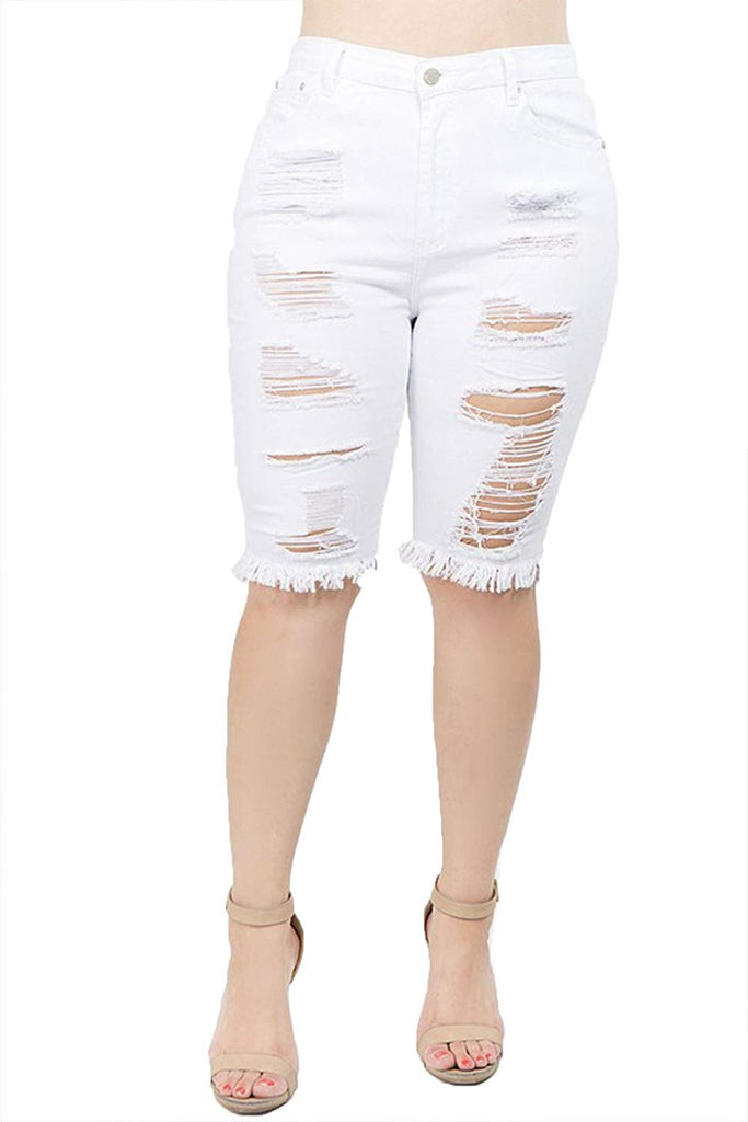 5779d18b14c TwiinSisters Women s Plus Size Ripped Bermuda Shorts with Comfort Stretch