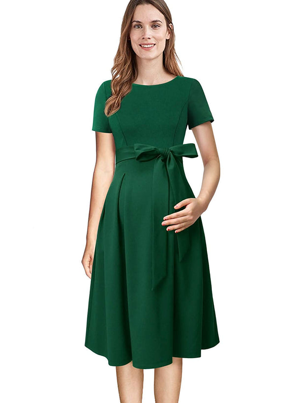 VFSHOW Womens Mama Maternity Nursing Pockets Pleated Skater A-Line Dress