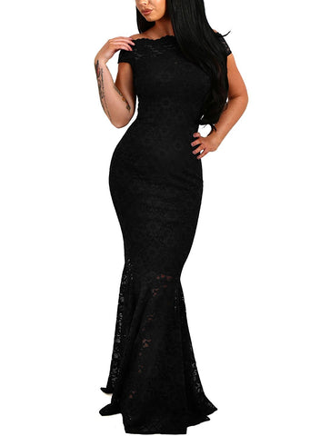 Sexy Off Shoulder Bardot Lace Evening Party Bodycon Fishtail Maxi Dress.