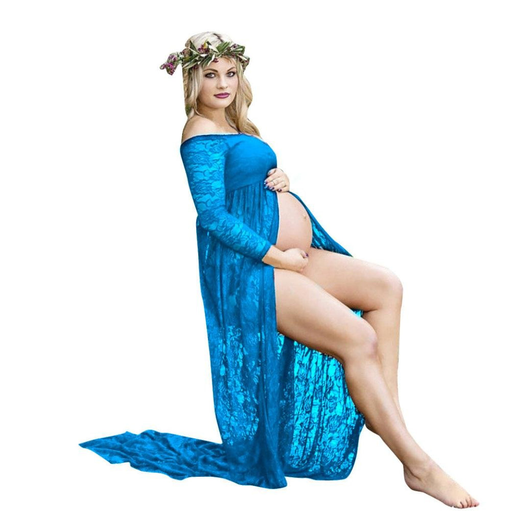Front Split Off Shoulder Long Sleeve Lace Maternity Dress.