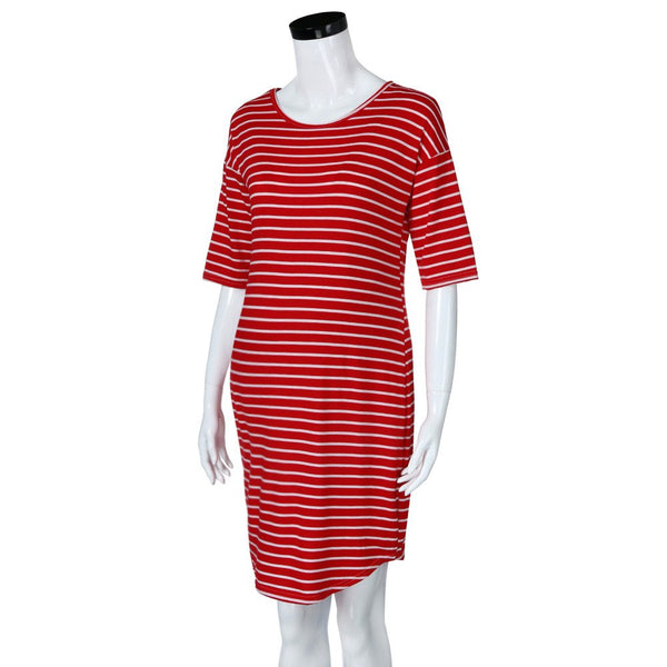 Mom Maternity Nursing Women's Pregnant Stripe Short Sleeve T-Shirt Maternity Dress O-Neck Blouse Tops