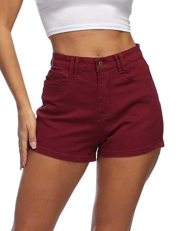 High Waist Denim Shorts Zipper Side Casual Enhancing Summer Hot Short Jeans