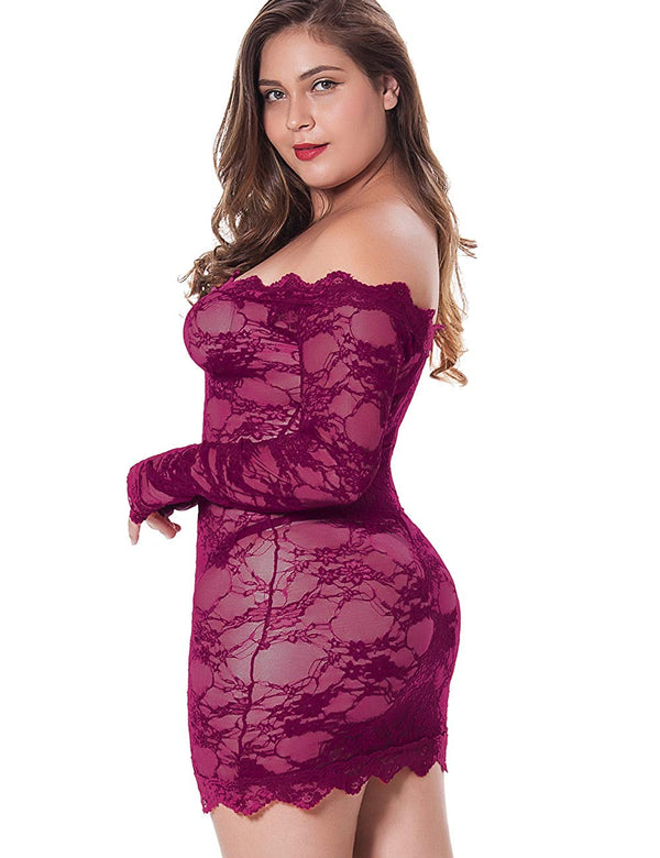 LINGERLOVE Womens Regular and Plus Size Chemise Floral Lace Off Shoulder See Through Bodysuit Lingerie