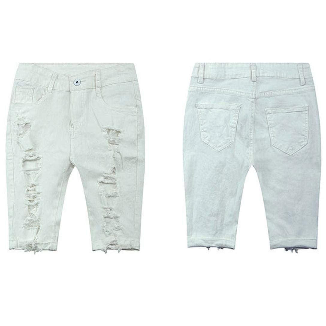 5428843e6b Goodlock Women Casual Denim Pants Destroyed Bermuda Shorts Jeans with Hole  Ripped