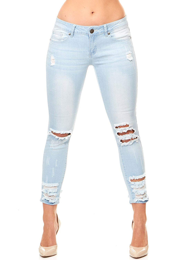 Girl Women's Cropped Ripped Distressed Skinny Jeans Junior Plus