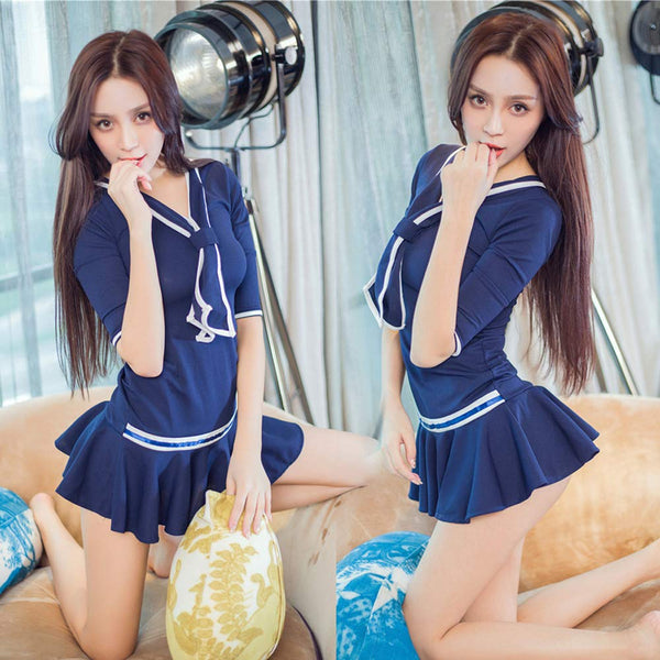 Lucky2Buy Schoolgirl Lingerie Cosplay Uniform Classic Pleated Mini Skirt with Bowknot