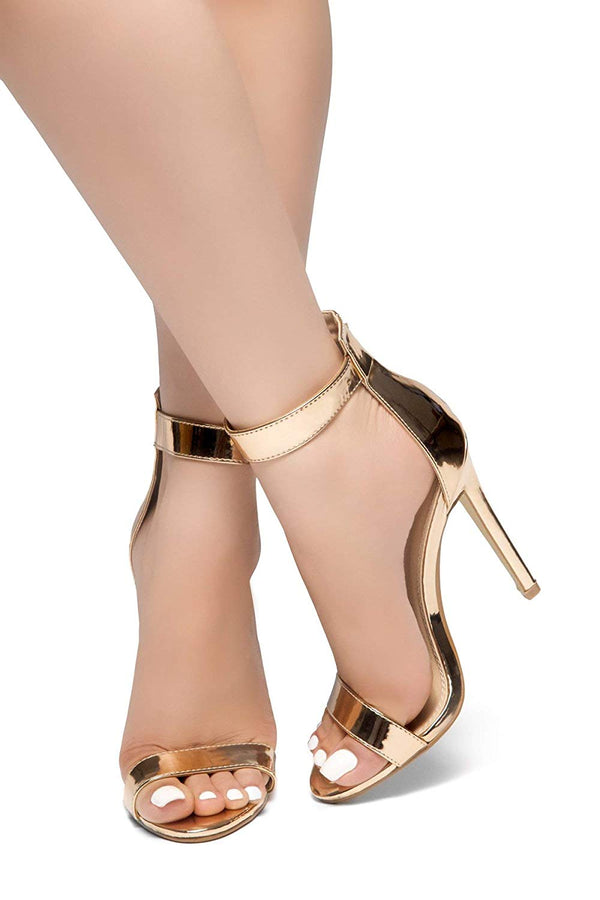 Charming Ankle Strap Rounded Buckle Open Toe Stiletto Heel.