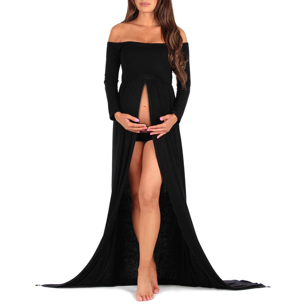 Off Shoulder Maternity Gown.