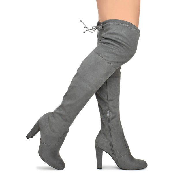 The Knee Pullon Boot - Trendy Low Block Heel Shoe - Comfortable Boot