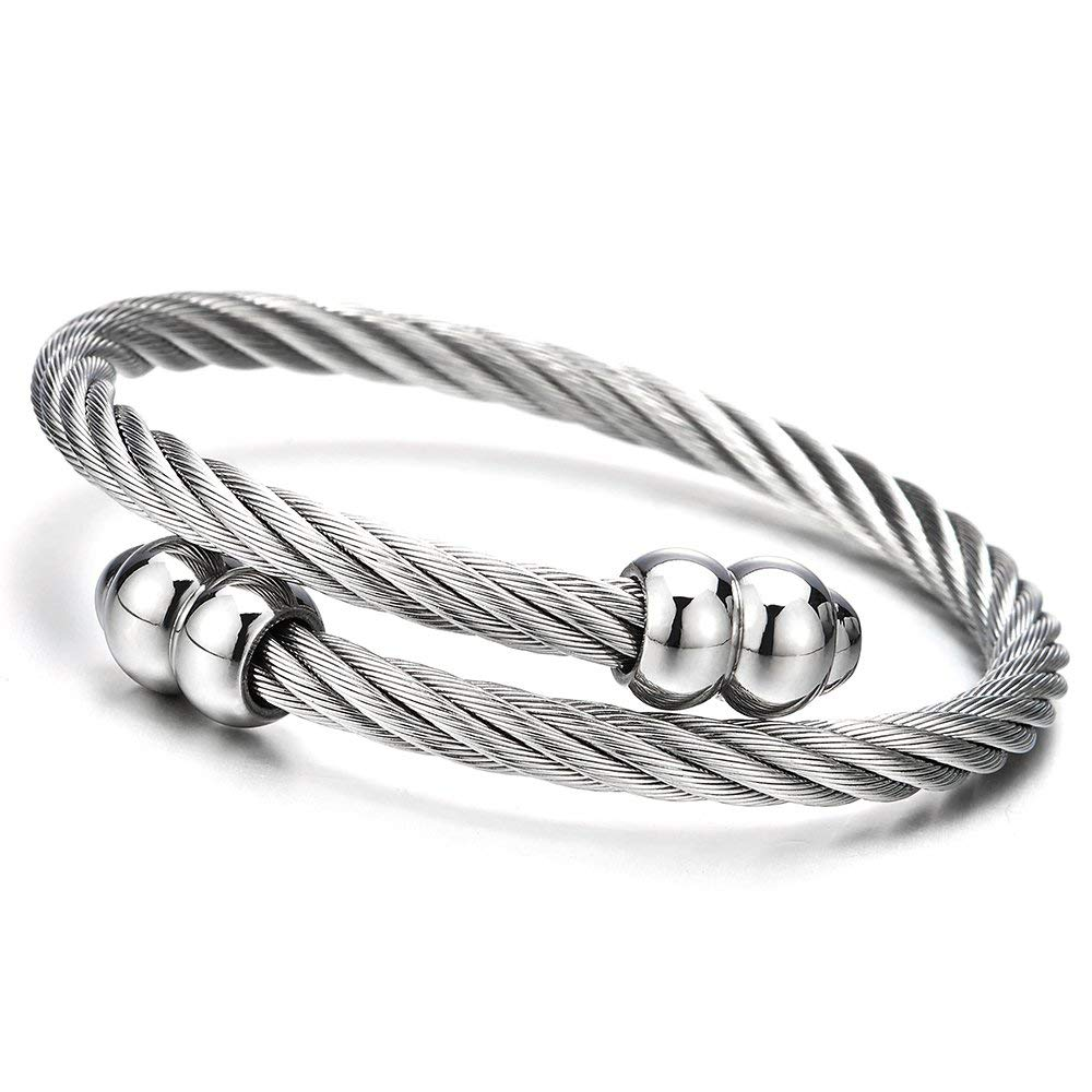 Stainless Steel Twisted Cable Bangle Bracelet with Hook Clasp