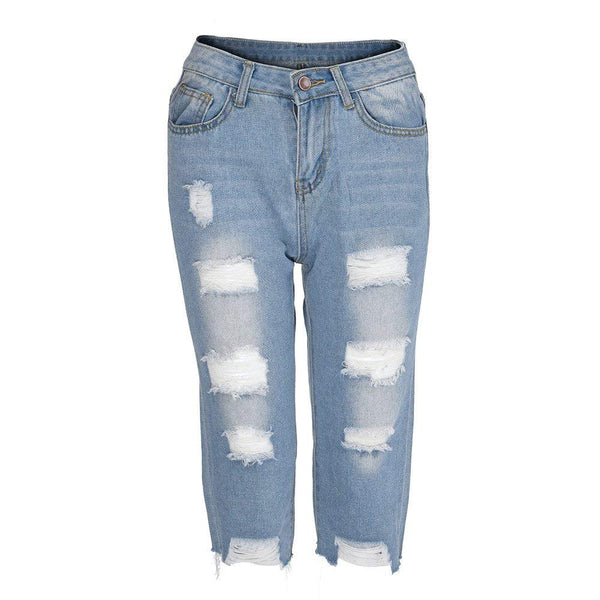 Casual Elastic Denim Leggings Destroyed Bermuda Shorts Jeans Pants