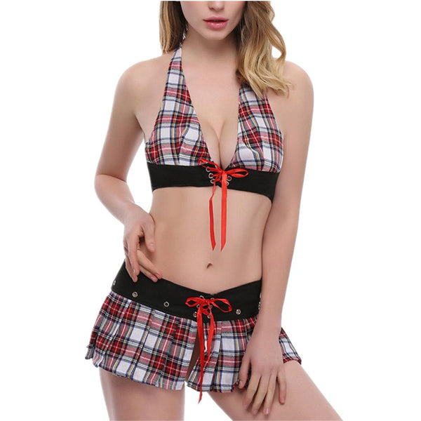 Sexy Cosplay Schoolgirls Lingerie Outfit Temptation Nightwear Dress Temptation (Red)