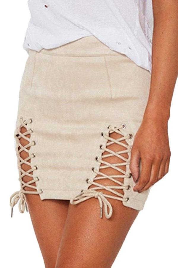 Meyeeka Womens Sexy High Waist Lace up Bodycon Faux Suede Split Tight Mini Skirt