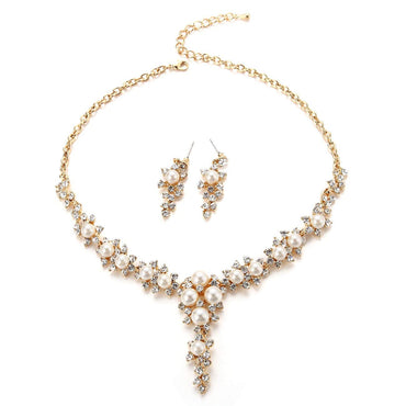 Crystal Rhinestone Beading Necklace Earrings Wedding Jewelry Sets