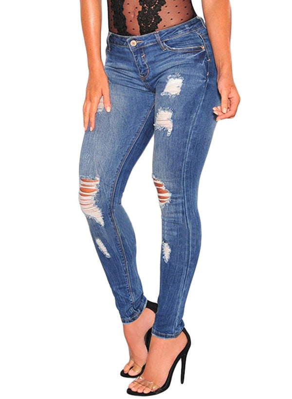 Casual Denim Destroyed Stretchy Ripped Skinny Jeans