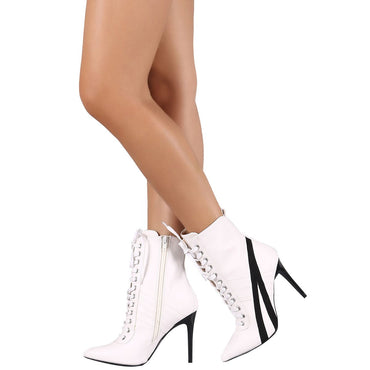 Wild Diva Womens Pointed Toe Lace up High Stiletto Heel Ankle Booties Sneaker Boot