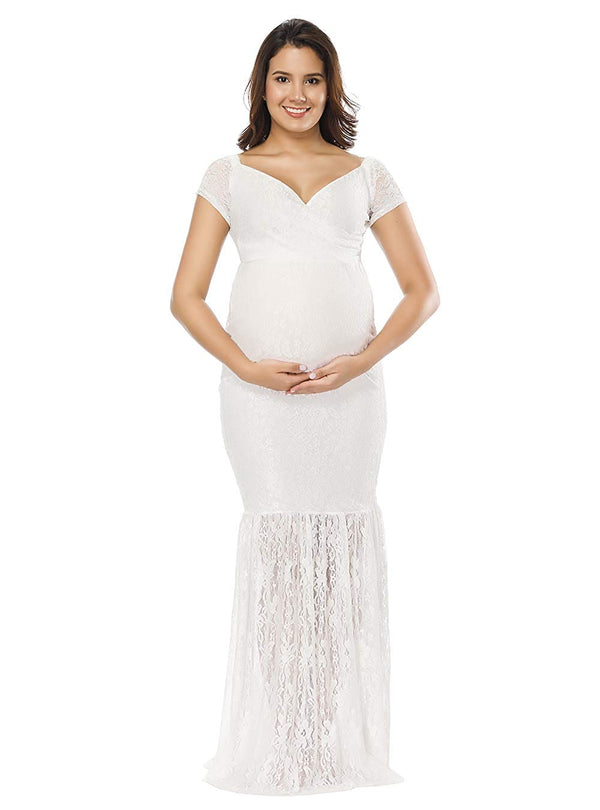JustVH Women's Off Shoulder Short Sleeve V Neck Lace Maternity Gown Maxi Photography Dress