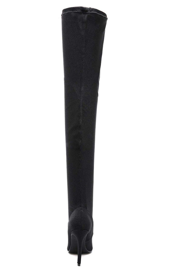 Women Over The Knee Boots Poninted Toe Thigh High Bootie Stretch Socks Boots for Ladies Heeled
