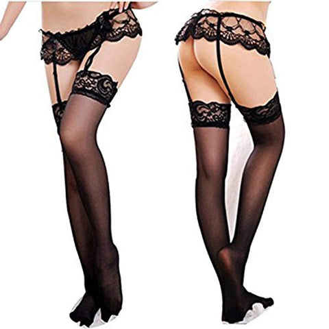 Puto Womens Sexy Lace Garter Belts with Panties And High Thigh Stockings Sets Sexy Lingerie (4Pack)