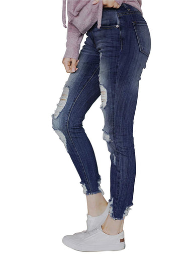 Dokotoo Womens Basic Distressed Jeans Long Slim Casual Destroyed Skinny Jean Pants