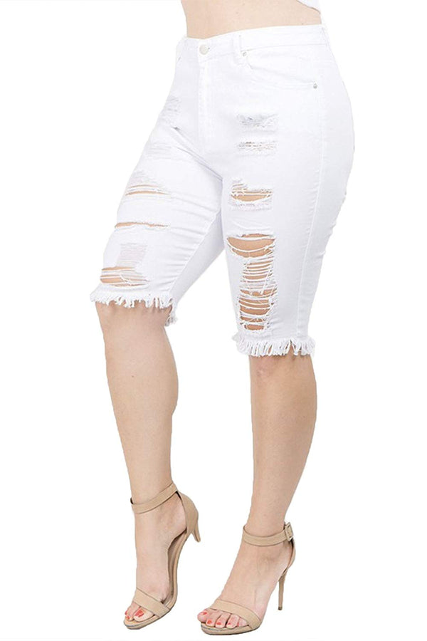 TwiinSisters Women's Plus Size Ripped Bermuda Shorts with Comfort Stretch