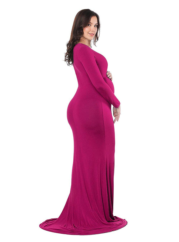 JustVH Maternity Elegant Fitted Gown Long Sleeve Cross-Front V Neck Ruched Slim Fit Maxi Photography Dress